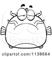 Cartoon Clipart Of A Black And White Depressed Catfish Vector Outlined Coloring Page by Cory Thoman
