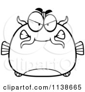Cartoon Clipart Of A Black And White Angry Catfish Vector Outlined Coloring Page