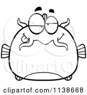 Cartoon Clipart Of A Black And White Dumb Catfish Vector Outlined Coloring Page