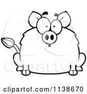 Cartoon Clipart Of A Black And White Surprised Boar Vector Outlined Coloring Page