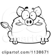Cartoon Clipart Of A Black And White Happy Smiling Boar Vector Outlined Coloring Page