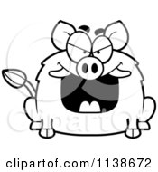 Cartoon Clipart Of A Black And White Sly Boar Vector Outlined Coloring Page