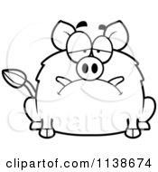 Cartoon Clipart Of A Black And White Depressed Boar Vector Outlined Coloring Page