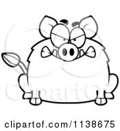 Cartoon Clipart Of A Black And White Angry Boar Vector Outlined Coloring Page