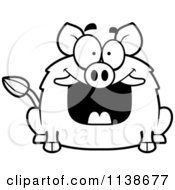 Cartoon Clipart Of A Black And White Happy Grinning Boar Vector Outlined Coloring Page