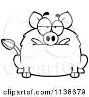 Cartoon Clipart Of A Black And White Bored Boar Vector Outlined Coloring Page