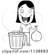 Cartoon Clipart Of A Black And White Happy Woman Taking Out The Trash Vector Outlined Coloring Page