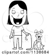 Cartoon Clipart Of A Black And White Happy Woman Ready To Walk Her Dog Vector Outlined Coloring Page