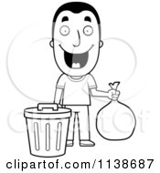 Cartoon Clipart Of A Black And White Happy Man Taking Out The Trash Vector Outlined Coloring Page