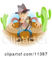Sheriff Cowboy In Western Wear In A Desert Preparing To Draw His Guns