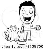 Cartoon Clipart Of A Black And White Happy Boy Feeding His Cat Vector Outlined Coloring Page