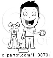 Cartoon Clipart Of A Black And White Happy Boy Feeding His Dog Vector Outlined Coloring Page