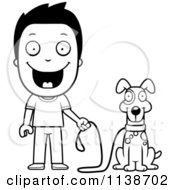 Cartoon Clipart Of A Black And White Happy Boy Ready To Walk His Dog Vector Outlined Coloring Page