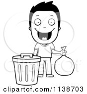 Cartoon Clipart Of A Black And White Happy Boy Taking Out The Trash Vector Outlined Coloring Page