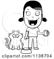 Cartoon Clipart Of A Black And White Happy Girl Feeding Her Cat Vector Outlined Coloring Page
