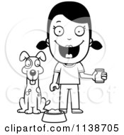 Cartoon Clipart Of A Black And White Happy Girl Feeding Her Dog Vector Outlined Coloring Page