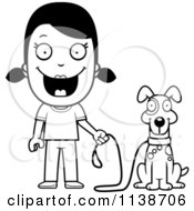 Cartoon Clipart Of A Black And White Happy Girl Ready To Walk Her Dog Vector Outlined Coloring Page