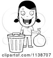 Cartoon Clipart Of A Black And White Happy Girl Taking Out The Trash Vector Outlined Coloring Page