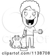 Cartoon Clipart Of A Black And White Happy Senior Woman Feeding Her Cat Vector Outlined Coloring Page