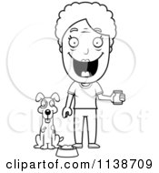 Cartoon Clipart Of A Black And White Happy Senior Woman Feeding Her Dog Vector Outlined Coloring Page
