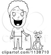 Cartoon Clipart Of A Black And White Happy Senior Woman Ready To Walk Her Dog Vector Outlined Coloring Page