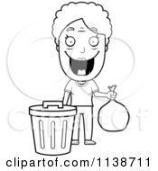 Cartoon Clipart Of A Black And White Happy Granny Taking Out The Trash Vector Outlined Coloring Page