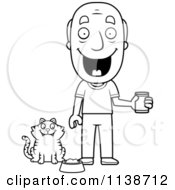 Cartoon Clipart Of A Black And White Happy Senior Man Feeding His Cat Vector Outlined Coloring Page