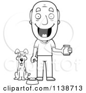 Cartoon Clipart Of A Black And White Happy Senior Man Feeding His Dog Vector Outlined Coloring Page