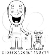 Cartoon Clipart Of A Black And White Happy Senior Man Ready To Walk His Dog Vector Outlined Coloring Page