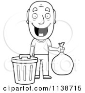 Cartoon Clipart Of A Black And White Happy Grandpa Taking Out The Trash Vector Outlined Coloring Page
