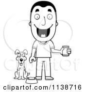 Cartoon Clipart Of A Black And White Happy Man Feeding His Dog Vector Outlined Coloring Page