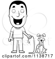 Cartoon Clipart Of A Black And White Happy Man Ready To Walk His Dog Vector Outlined Coloring Page