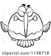 Cartoon Clipart Of A Black And White Mean Angry Hummingbird Vector Outlined Coloring Page