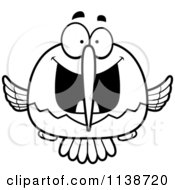 Cartoon Clipart Of A Black And White Excited Hummingbird Vector Outlined Coloring Page