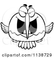 Cartoon Clipart Of A Black And White Sly Bully Hummingbird Vector Outlined Coloring Page