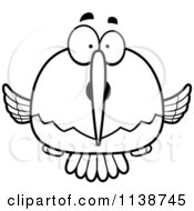 Cartoon Clipart Of A Black And White Surprised Hummingbird Vector Outlined Coloring Page