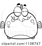 Cartoon Clipart Of A Black And White Dumb Piranha Fish Vector Outlined Coloring Page