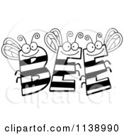 Cartoon Clipart Of Black And White BEE Letters Vector Outlined Coloring Page