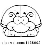 Cartoon Clipart Of A Black And White Happy Beetle Vector Outlined Coloring Page by Cory Thoman