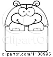 Cartoon Clipart Of A Black And White Happy Beetle Over A Sign Vector Outlined Coloring Page by Cory Thoman