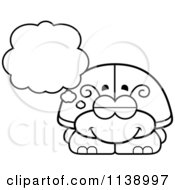 Cartoon Clipart Of A Black And White Dreaming Beetle Vector Outlined Coloring Page by Cory Thoman