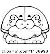 Cartoon Clipart Of A Black And White Scared Beetle Vector Outlined Coloring Page by Cory Thoman