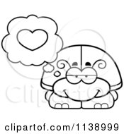 Cartoon Clipart Of A Black And White Beetle In Love Vector Outlined Coloring Page by Cory Thoman