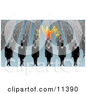 Unique Businessman Holding His Arms Up Surrounded By Men In Rows Clipart Illustration