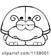Cartoon Clipart Of A Black And White Bored Beetle Vector Outlined Coloring Page by Cory Thoman