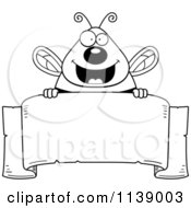 Cartoon Clipart Of A Black And White Chubby Bee Over A Blank Parchment Banner Vector Outlined Coloring Page