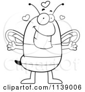 Cartoon Clipart Of A Black And White Chubby Bee Wanting A Hug Vector Outlined Coloring Page
