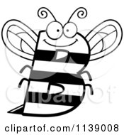 Cartoon Clipart Of A Black And White Letter B Bee Vector Outlined Coloring Page by Cory Thoman