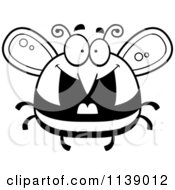Cartoon Clipart Of A Black And White Pudgy Grinning Bee Vector Outlined Coloring Page