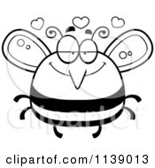 Cartoon Clipart Of A Black And White Pudgy Infatuated Bee Vector Outlined Coloring Page